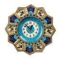 ساعت دیواری چوبی با نقاشی بازی چوگان قطر 37 سانتیمتر