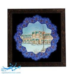 قاب بشقاب میناکاری 31 سانتیمتری نقاشی پل خواجوی اصفهان