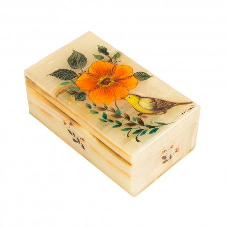 جعبه جواهرات سنگ مرمر با نقاشی گل و مرغ