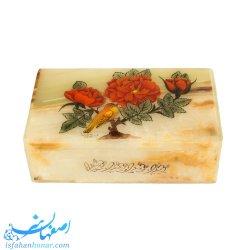 جعبه نفیس سنگی با نگارگری گل و مرغ