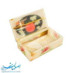 جعبه صادراتی سنگ مرمر نقاشی گل و مرغ ابعاد 12×7 سانتیمتر