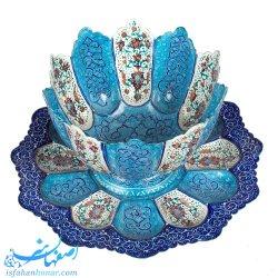 کاسه و بشقاب 20 سانتیمتری مینا نقاشی اسلیمی ختایی