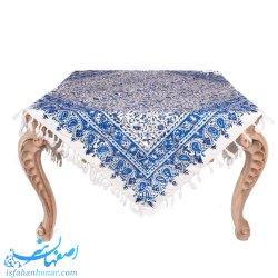 رومیزی قلمکار گل و بوته آبی ابعاد 120×120 سانتیمتر