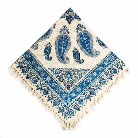 رومیزی قلمکار سنتی بته سرکج آبی