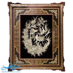 تابلوی قلمزنی گل و مرغ با قاب خاتم نفیس 52×62 سانتیمتری