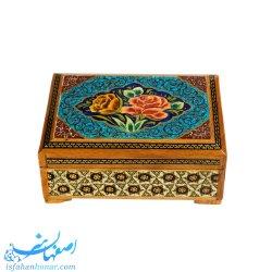 جعبه جواهرات صادراتی خاتم نقاشی ابعاد 11×8 سانتیمتر