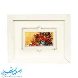 قاب کاشی با نقاشی آبرنگ ابعاد 23×18 سانتیمتر