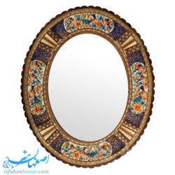 آینه سنتی بیضی خاتم نقاشی ابعاد 58×48 سانتیمتر