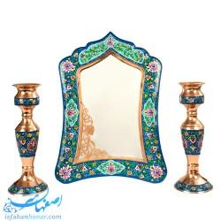 آینه و شمعدان مس و پرداز ارتفاع 34 سانتیمتر
