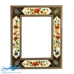 آینه با قاب نقاشی گل و مرغ ابعاد 28×34 سانتیمتر
