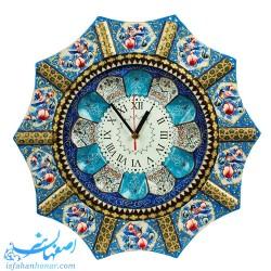ساعت دیواری چوبی خاتم نقاشی قطر 42 سانتیمتر