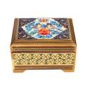 جعبه خاتم کاری نقاشی گل و مرغ ابعاد 8×11 سانتیمتر
