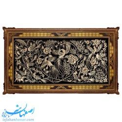 تابلوی دیواری قلمزنی گل و مرغ ابعاد 122×72 سانتیمتر