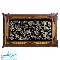 تابلوی بزرگ قلمزنی گل و مرغ با قاب خاتم ممتاز 103×63 سانتیمتری