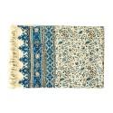 رومیزی قلمکار سنتی 200×135 سانتیمتری گل و بوته آبی