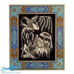 تابلو قلمزنی طرح گل و مرغ ابعاد 40×34 سانتیمتر