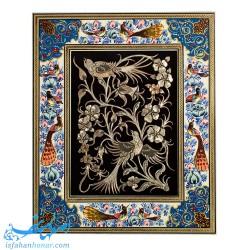 تابلوی قلمزنی گل و مرغ ابعاد 34×28 سانتیمتر
