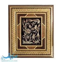 تابلو قلمزنی گل و مرغ ابعاد 44×38 سانتیمتر