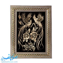 تابلو قلمزنی طرح گل و مرغ ابعاد 37×28 سانتیمتر